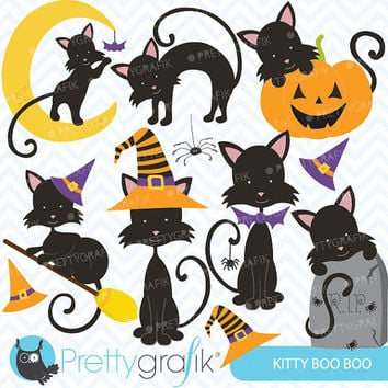 Halloween kitty cat clipart commercial use, vector graphics, digital clip art, digital images - CL559