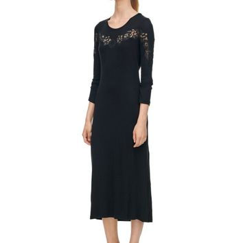 Rebecca Taylor Long Sleeve Lace Inset Jersey Dress