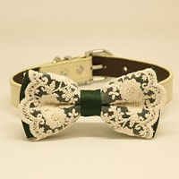 Green Lace dog bow tie collar, Dog collar, Lace, Pet gifts