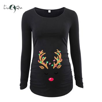 Maternity Tops Belly Ornament Mama Clothes Ugly Christmas Reindeer Flattering Side Pregnancy Blouse Funny First Xms T-shirt