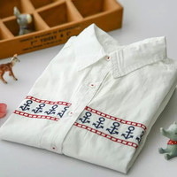 White Anchors Embroidery Long-sleeve Collared Shirt