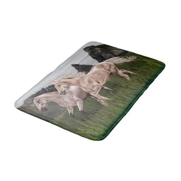 Buckskin and Palomino Horse Bath Mat