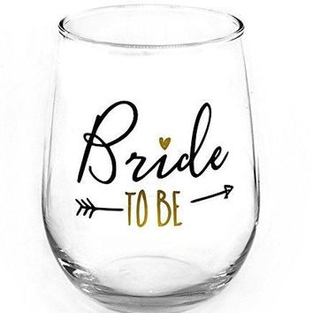 17 oz Bride To Be Wine Glass  Black and Metallic Gold Foil Print  Perfect Engagement Gift for Bride