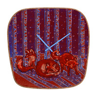 Renie Britenbucher Fox In Birch Batik Modern Clock