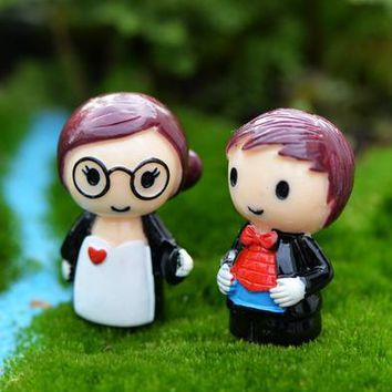 Min order $5, Sale 2pcs/lot couples Ornament Miniature Figurine Plant Pot Garden Decor Toys Home Crafts Classic Art Collectible