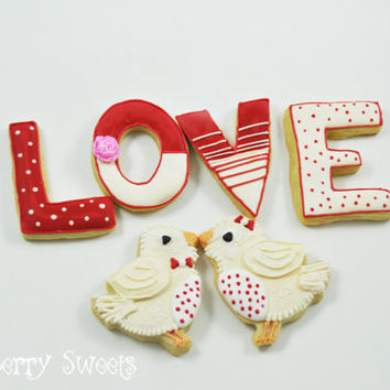 Valentine's Day Sugar Cookies - LOVE birds - 1/2 dozen Cute decorated sugar cookies - Perfect Sweet Valentine's Gift for him or her