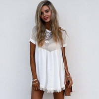 Fringe Patchwork Short Sleeves Hollow Out Short Loose Dress