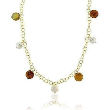 18K Gold over Sterling Silver White, Gold, & Amber Freshwater Cultured Coin Pearl Dangle Necklace