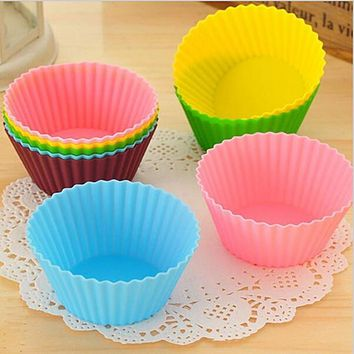 10Pcs/Lot Soft Round Silicone Cake Mold fondant decorating Muffin Chocolate Silicone Mold Cupcake Liner Baking Silicone Cup Mold