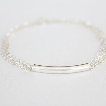 $24.00 Curved Bar Bracelet  Sterling Silver Filled Bar  by junghwa