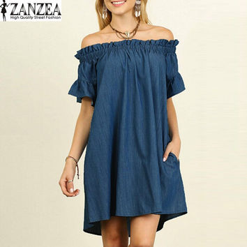 Sexy Vestido 2017 ZANZEA Women Summer Short Sleeve Casual Loose Ruffled Flare Denim Look Jeans Shirt Mini Sun Dress Kaftan S-5XL