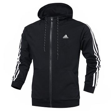 Adidas Women Men Fashion Casual Zip Hooded Cardigan Jacket Coat