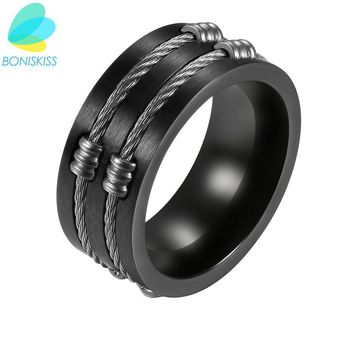 Boniskiss 10mm High Quality Men Rings Rock Punk Rings With Cable Wire Black Stainless Steel Ring For Men Jewelry Anelli Uomo