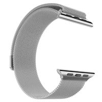 Designer 14k White Gold Finish 42mm Milanese Loop Apple Watch Steel Mesh Band