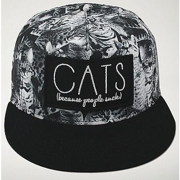 Cats Because People Suck Snapback Hat - Spencer's