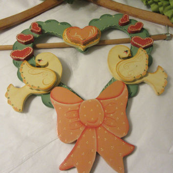 Vintage Cottage Chic Wooden Handmade Hand Painted Handcrafted Hearts Doves Wall or Door Wreath