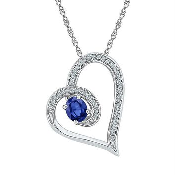 Sterling Silver Women's Oval Lab-Created Blue Sapphire Heart Diamond-accent Pendant 5-8 Cttw - FREE Shipping (US/CAN)