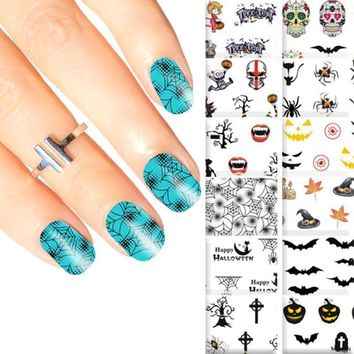 5 Sheet Halloween Water Transfer Nail Art Stickers Adhesive Decals Nail Decoration Pumpkin Skull 3D Manicure Sticker Makeup Tool