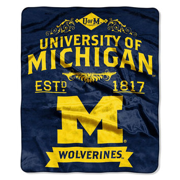Michigan Wolverines NCAA Royal Plush Raschel Blanket (Label Series) (50x60)