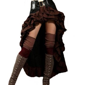 Steampunk Couture Brown & Black Vex Steampunk Skirt