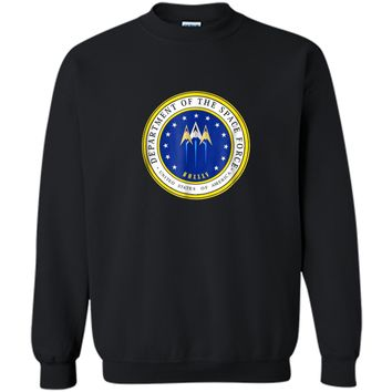 Department of Space Force Funny Political Satire T-Shirt Printed Crewneck Pullover Sweatshirt