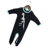 Punk Rock Boys Blue Ribbing Dinosaur Black Sleepsuit, Alternative Baby Boys Clothes, Dinosaur Bones Skeleton Newborn Baby Shower Gift