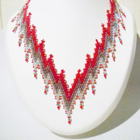 Bargello necklace in the colours red, rose gold and silver with Swarovski Crystal,statement necklace,peyote necklace,red silver necklace