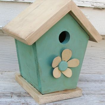 Shabby Cottage Chic Birdhouse Aqua Blue by baconsquarefarm on Etsy