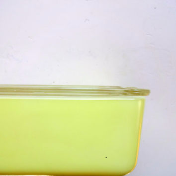Vintage Maid of Honor Lemon Yellow Refrigerator Ice Box Dish with Lid 8 x 5