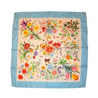 "Gucci classic ""floral"" silk scarf with blue borders"