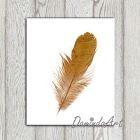 Gold feather print Copper Home decor Gold feather printable 11x14 DOWNLOAD 5X7 8X10 Gold feather wall art Gold home decor Minimalist decor