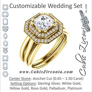 CZ Wedding Set, featuring The Brielle engagement ring (Customizable Asscher Cut Cathedral Double-Halo with Curved Split-Band)