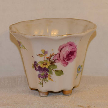 Goldcastle Chikusa Japan Ceramic Planter Vintage Hand Painted Floral Vase Gilding Footed Shabby Chic Dish Vanity Dresser Decor