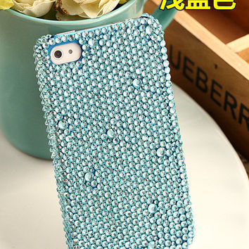 Handmade Bling sparkle diamond crystal Rhinestone iPhone 6 6 plus case iPhone 5 5c 5s 4s case Samsung case cover blue  design