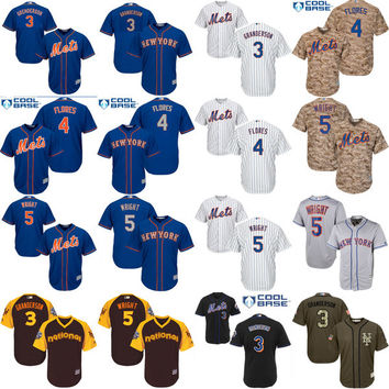 Youth New York mets 3 Curtis Granderson 4 Wilmer Flores 5 David Wright kids Baseball Jersey stitched