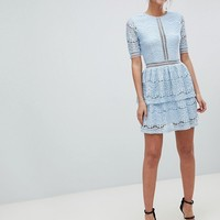Missguided Tall Lace Layered Mini Dress at asos.com
