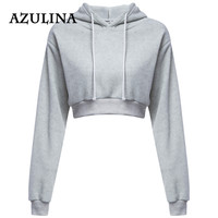 AZULINA Casual Gray Black Cropped Hoodies Pullovers Female Sweatshirt Winter Sexy Grey Short Crop Hoodie for Women Tracksuit