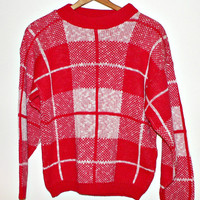 1980's / 1990's New Wave Rockabilly Sweater - Red & White Plaid - Women's Small (S) or Medium (M) - Cute!