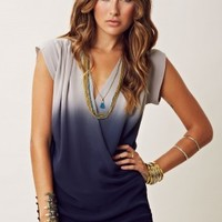 GOLD HAWK OMBRE SLEEVELESS WRAP TUNIC