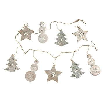 Wooden Christmas Snowman Tree and Star Garland with Glitter, Green/Natural, 59-Inch