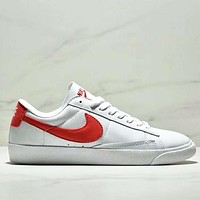 NIKE WMNS BLAZER LOW LE Fashion New Red Hook Women Men Sports Leisure Shoes White