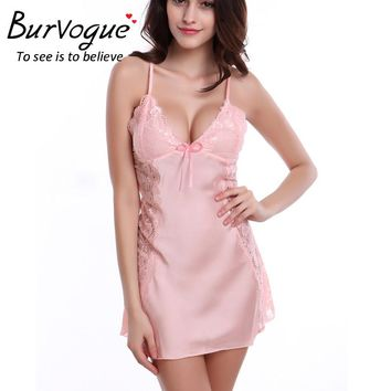 Burvogue Sexy Nightdress Silk Baby Dolls Sleepwear Lace Lingerie Babydoll Nightdress Nightgown Baby Dolls Women Lingerie