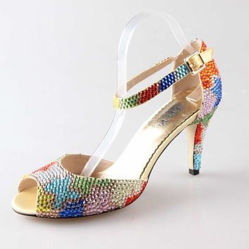 Colorful rhinestone D'orsay wedding shoes , peep toe bridal shoes, party shoes crystal sandals pumps