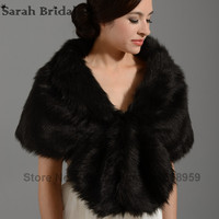 Retail Warm Faux Fur White/Black Bolero Wedding Wrap Shawl Bridal Jacket Coat Accessories 2016 Real Picture Free Shipping 17002