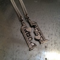 Doctor Who TARDIS Phone Booth Double Heart Friendship Necklace | redditgifts