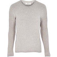 River Island MensPink ribbed sweater