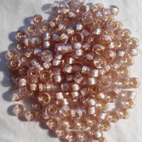 Fifty 6mm Czech Light Pink Silver Lined glass pony roller beads, large hole crow beads, C7450