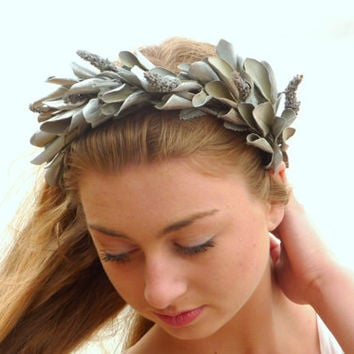 Silver Leaf Crown, Minimal Leaf Crown, Unisex, Greek Goddess Crown, real dried leaf Silver Leaf Headpiece, Crown, Photo Prop, Grecian