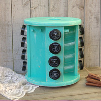 Lazy Susan, Spice Rack, Shabby Chic, Tiffany Blue, Aqua, Turquoise, Hand Painted, Distressed, Upcycled, Kitchen Decor