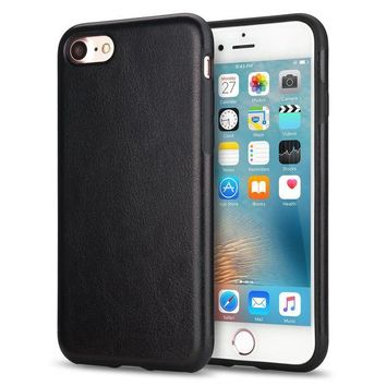 DCK4S2 TENDLIN iPhone 8 Case / iPhone 7 Case with Premium Leather Outside and Flexible TPU Silicone Hybrid Slim Case for iPhone 7 and iPhone 8 (Black)